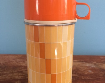 "Vintage ""Thermos"" Brand Orange Gradiated Thermos"