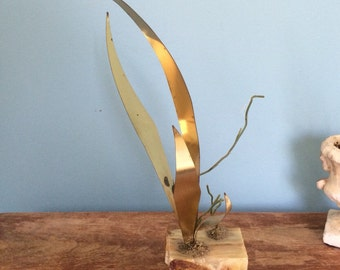 Retro Brass and Mixed Media Seagrass Inspired Objet D'Art/ Sculpture