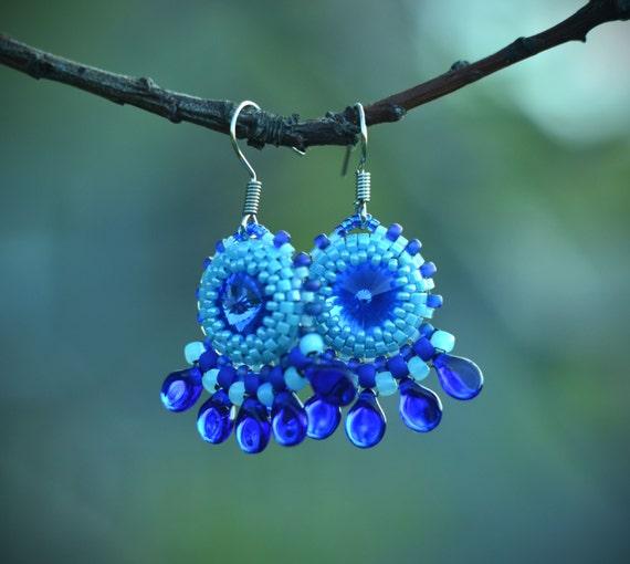 Blue rivoli earrings beaded jewelry beadwork