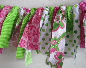Bright Pink and Lime Green Birthday Banner Fabric Garland Watermelon Party