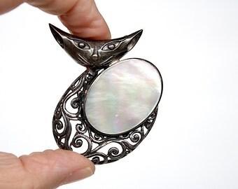 Cat Pin - Cat Brooch - Cat Pendant - Sterling Silver Cat Jewelry - Vintage Pin - Sterling Silver Brooch - Cat Lover Gift - Mid Century Cat