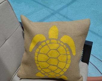 Sea Turtle Pillow Cover 100% Burlap 18x18