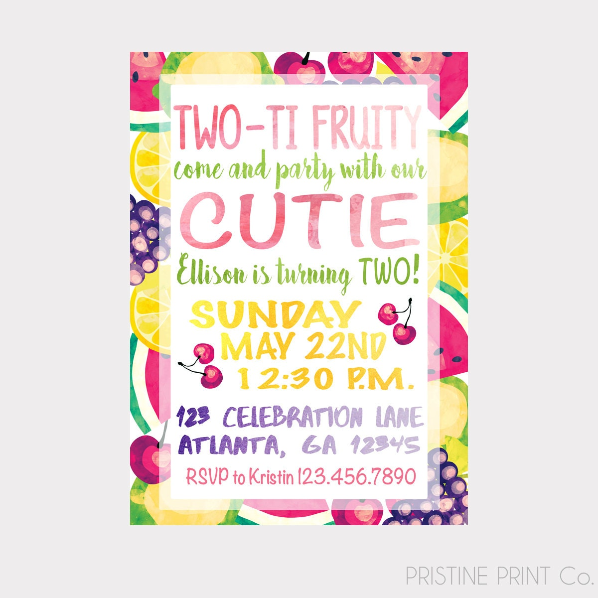 TWO TI FRUITY Tutti Frutti Fruit Birthday Invitation By