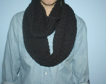 Hand knit charcoal infinity/circle scarf