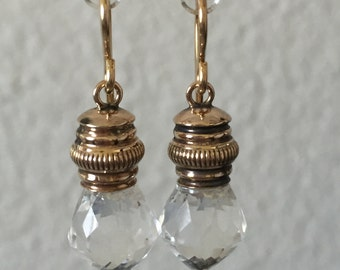 Clear Rock Crystal Quartz Earrings on Gold Antique Watch Chain Mounts   #CELESTEANDCOGEMS