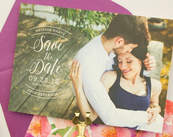 Photo Save the Date Cards with Watercolor Florals, Wedding Save the Dates with Watercolor Flowers, Custom Save the Date Announcement | Posy