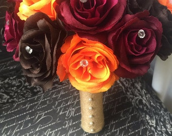 Fall Wedding Bouquet, Fall Bouquet, Brown Bouquet, Burgundy Bouquet, Orange Brown Bouquet, Orange Rose Bouquet, Fall Bridal Bouquet