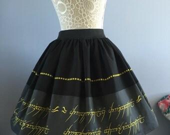 Ladies or girls Lord of the Rings, One Ring full skater skirt