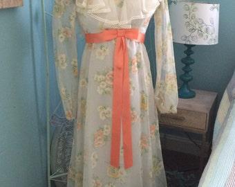 Vintage Maxi Dress 1970s formal