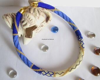 "Bead Crochet Necklace ""Vanilla morning"" cream,cornflower,blue,gold,holiday,office,evening,decoration,for her"