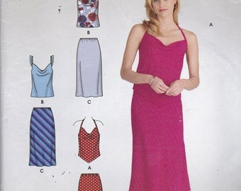 Simplicity 4526 Vintage Pattern Womens Halter Tops  and Skirts in 3 Variations Size 6,8,10,12,14,16 UNCUT