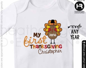 Baby's First Thanksgiving Bodysuit or Shirt - Personalized 1st Thanksgiving Outfit