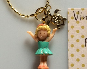 Vintage Polly Pocket Doll Necklace Polly Charm with Honu/Turtle Charm