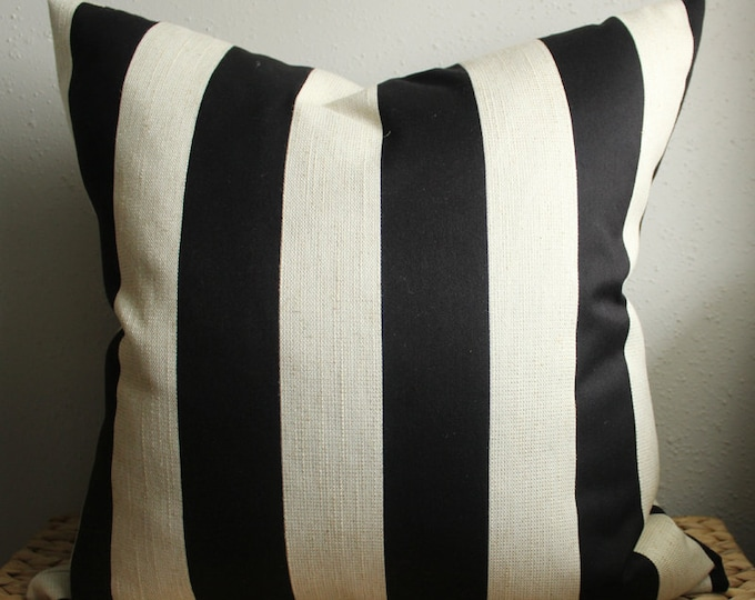 black and natural striped pillow