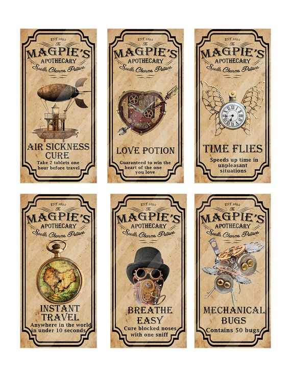 Steampunk Apothecary Labels For Jars Bottles Tags And