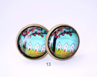 cabochon painted earring studs