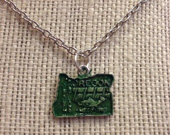 "20"" Green Oregon State Necklace"