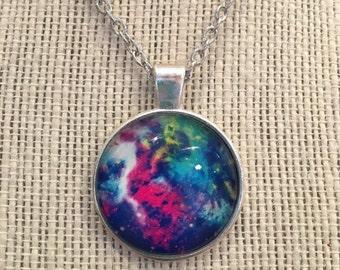 """16"""" Silver Multicolored Galaxy&Nebula Glass Pendant Necklace"""