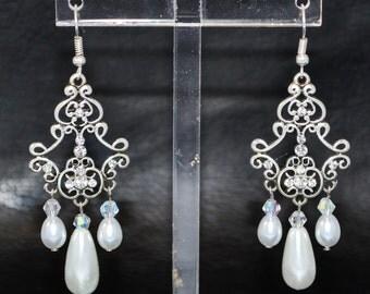 Crystal Pearl and Swarovski Filigree Chandelier Earrings