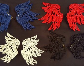 Embroidered Lace Angel Wing Hair Clips