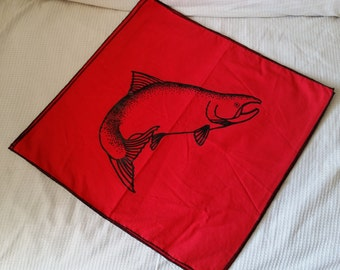 Set Of Four Large Salmon Cotton Napkins