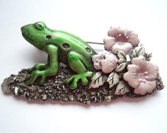 Vintage Signed JJ  Silver pewter Frog on Lilypad Brooch/Pin