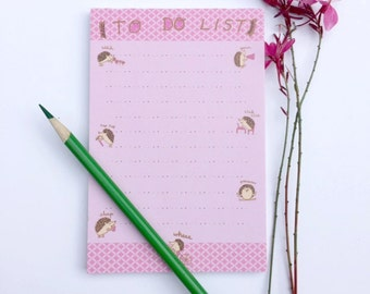 Hedgehog Notepad, Note Pad, To Do List, Pink
