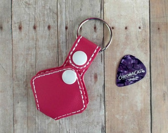 Guitar Pick Holder Key Chain, Opens to Hold Several Picks, Vinyl in Your Choice of 25 Colors, with Snap, Musician Key Fob Gift, Custom Color