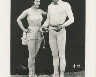 Circus performers couple acrobats escape act antique photo