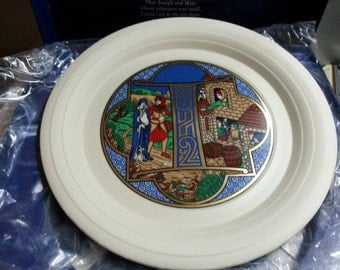 Christmas plate 1982, limited edtion, Hornsea, boxed, 'No room at the inn,' Letter 'I'