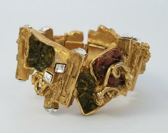 Vintage Christian Lacroix France Heavy Modernist Abstract Statement Bracelet