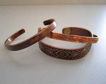 Vintage Stackable Copper Bangles - Set of Three 3