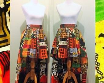 High Waist High Low Colorful Patchwork African Print Ankara Skirt, African clothing, Maxi skirt, African fabric, Short skirt, Kente Cloth