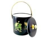 Ice Bucket, Couroc Ice Bucket, Couroc Frogs, Mid Century Barware, Dancing Frogs Couroc, Black Ice Bucket, Mad Men Barware