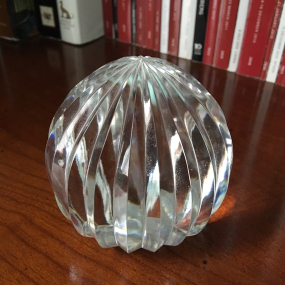 Tiffany and co ribbed glass crystal paperweight block carved