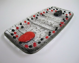 House of Black and Red Fused Glass Tray