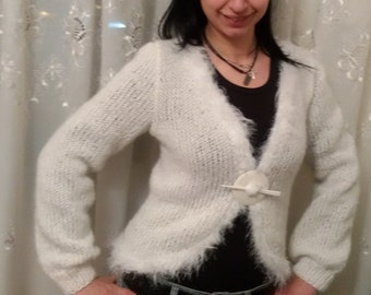 Hand knitted bolero, Fluffy mohair  bolero ,Knitted cardigan , women jacket, mohair sweater