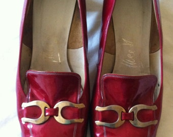1960s MISS HOLMES Red Patent Leather  Sqaure Toe Mid -heel  Shoes - US10 / uk8