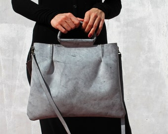 Gray leather handbag, leather handbag, handbag for women, crossbody bag, leather crossbody, gray crossbody bag, handmade leather bag