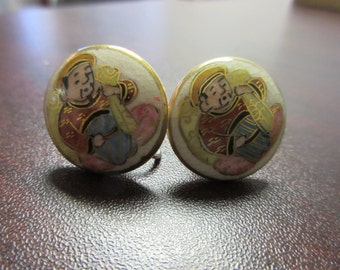Oriental Ceramic Screw Back Earrings