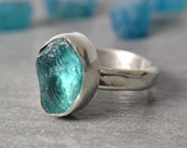 Neon Blue Apatite Ring, Rough Gemstone, Sterling Silver Ring, Woman's Size 7.0 Handmade Apatite Ring, Raw Crystal Ring
