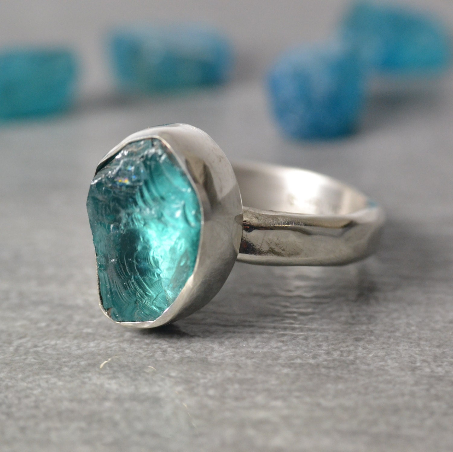 Neon Blue Apatite Ring Rough Gemstone Sterling Silver Ring