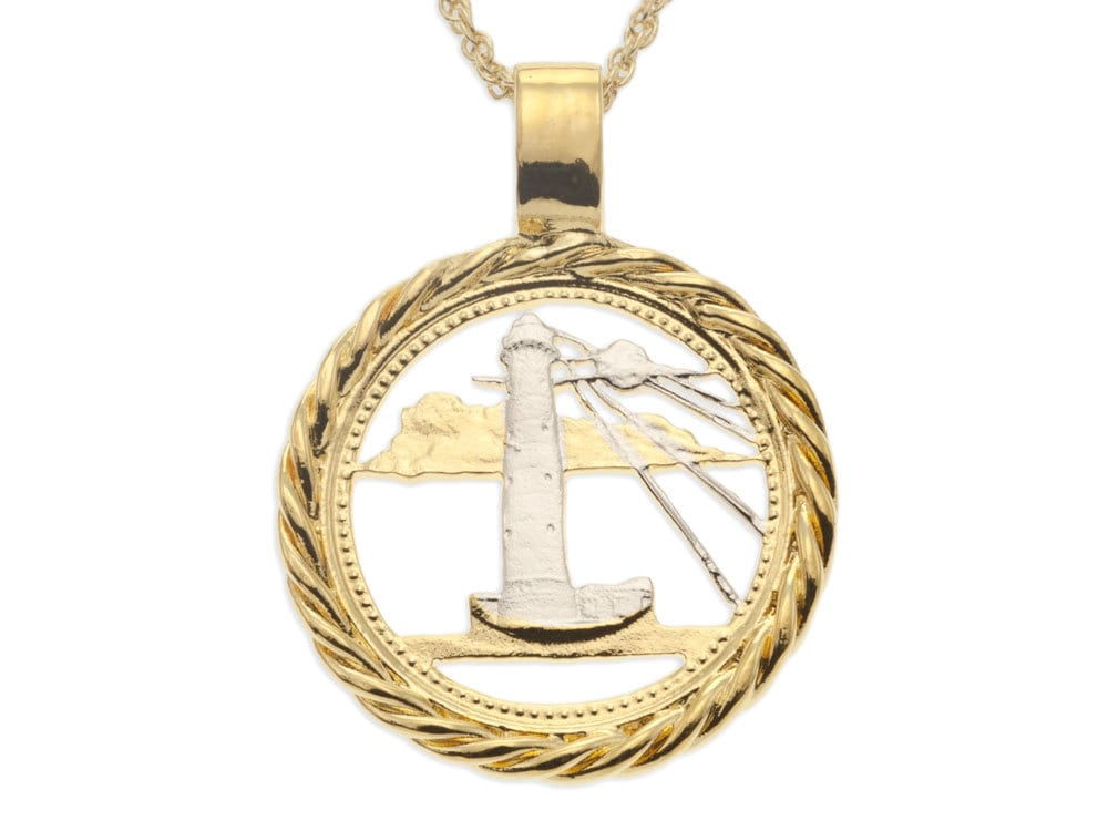 lighthouse pendant and necklace barbados five cents coin