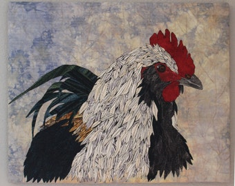 Portait Of A Rooster ,Art Quilt, Wall Hanging, Rooster, Fiber Art, Chicken, Art, Quilt, Textile