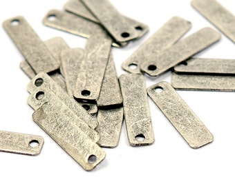500 pcs. Antique Silver 4x15 mm Rectangular Stamping Tag Findings