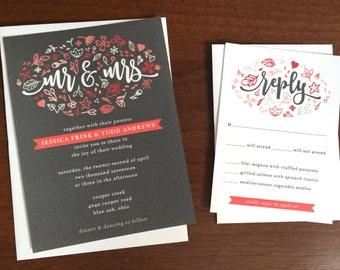 Grey & Peach Doodles Wedding Invitations