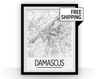 Damascus Map Poster - syria Map Print - Art Deco Series