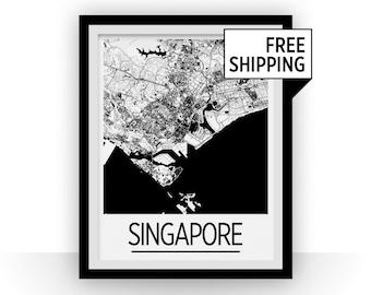 Singapore Map Poster - singapore Map Print - Art Deco Series