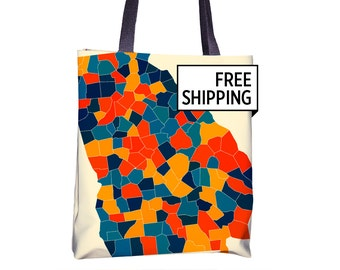 Georgia Map Tote Bag - GA Map Tote Bag 15x15
