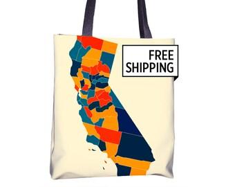 California Map Tote Bag - CA Map Tote Bag 15x15